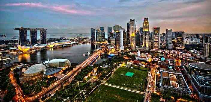 Asia and Asian Countries - Singapore Skyline